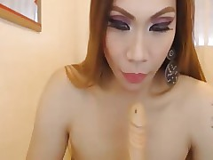 Beauteous Shemales Sincere Dildo Sucking