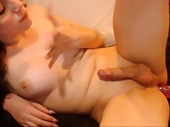 Cute Young T-Girl's Stunning Cumshot
