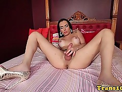 Bikini tgirl dildofucking the brush..