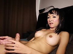 Perkytitted ladyboy jerks together..
