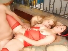 2 dicks 1 pussy coupled with 1 dildo