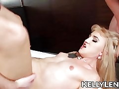 Nubile Lena Kelly swallows four cocks..