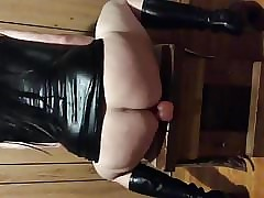 Crossdresser riding knick-knack