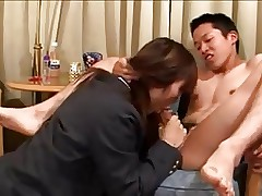 Powered japanese schoolgirl fucks will not hear of boyfriends ass.