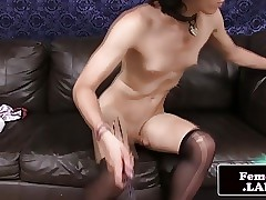 Femboy Cam jerks load of shit in the..